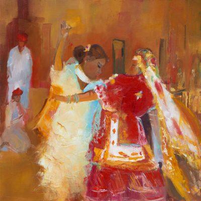 Danse indienne - 70x70cm